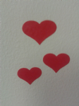 3 x  Red heart car bumper stickers - 3 different sizes